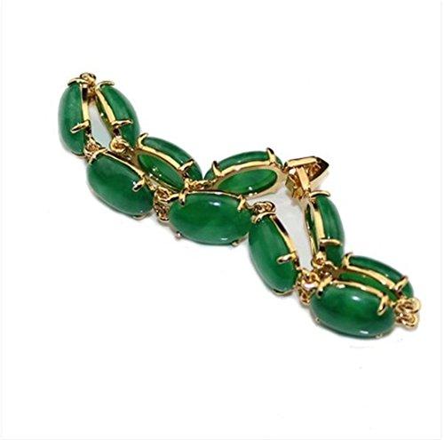 Womens 18KGP chapado en oro forma ovoide verde Jade piedra Natural pulsera