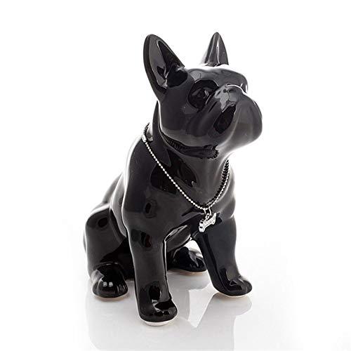 IOPMIE Sculpture Ceramic French Bulldog Dog Statue Ceramic Crafts Home Decoration Ornament Porcelain Animal Figurine Decor,C,19X11X23CM