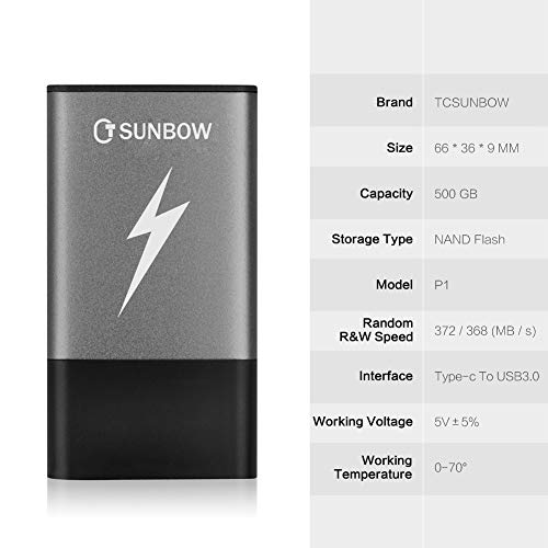 TCSUNBOW SSD portátil de 500 GB miniatura