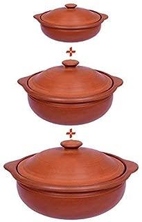 Mitti/Mud/Terracotta/Organic Clay/Earthen Handmade and Unglazed Kadai/Kadhai Set for Cooking