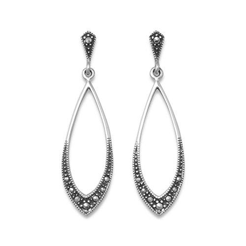 Pendientes largos de plata de ley 925 con forma de marcasita suave marquesa de 42 mm, joyería de regalo para mujeres