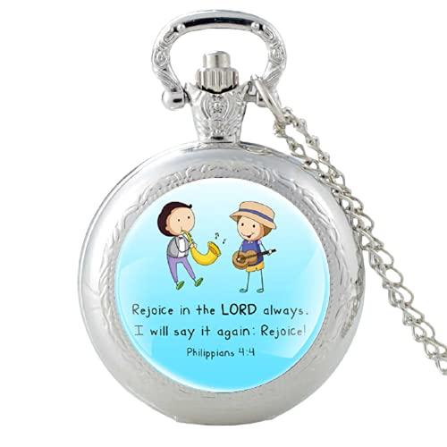 Reloj de bolsillo con colgante de cuarzo con texto en inglés 'Rejoice in The Lord Always I Well Say It Again :Rejoi'