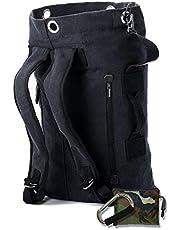 KIRIRU【 無骨 × 帆布 】 メンズ リュック 大容量 〔 防水 レインカバー & 収納袋 付き 〕 20L 30L 堅牢 コットン キャンバス バックパック サイドファスナー ポケット付きモデル
