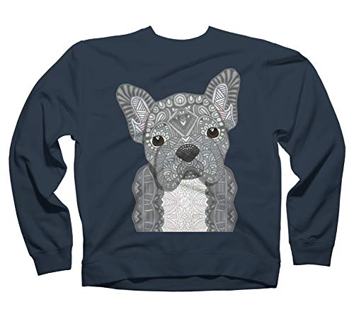 Design By Humans Gray Frenchie 001 Navy Blue Graphic Crew Neck Sweatshirt XL