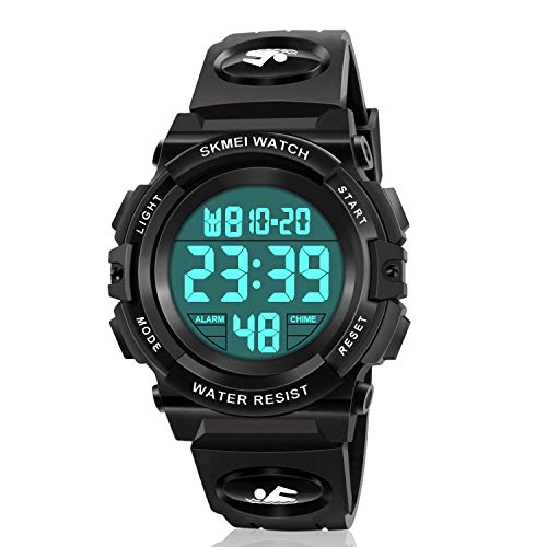 Kids Digital Watch,Boys Sports Waterproof Led Watches With Alarm,Wrist Watch for Boys Girls Childrens, Best Gifts For Boys (C-black)