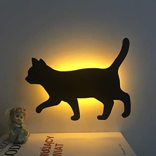 LEDMOMO Katze LED Nachtlampe Sprachsteuerung Nachtlicht Silhouette Lampe Wandlampe Batterie (warme Farbe)