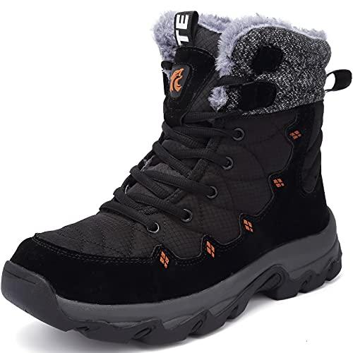 Lvptsh Chaussures d'hiver Hommes Femme Bottes de Neige Étanche Bottes d'hiver Fourrure Doublé Chaud Antidérapantes Outdoor Bottine de Randonnée,Noir,EU41