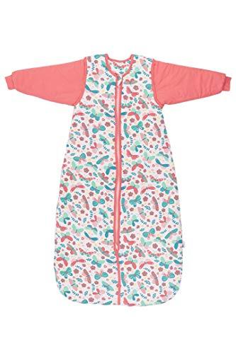 Schlummersack Saco de dormir infantil para todo el año, forrado en 2,5 tog, con mangas extraíbles, diseño de mariposas, 130 cm, 3-6 años