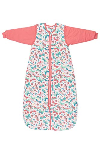 Schlummersack Kinder Winterschlafsack warm gefüttert in 3.5 Tog MIT ABNEHMBAREN Ärmeln - Schmetterling - 130 cm / 3-6 Jahre