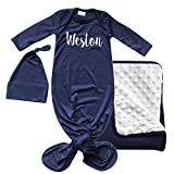 Gift Set Lush Personalized Gown, Matching Blanket, Hat-Boy, Girl, Gender Neutral Navy