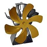 MagiDeal Ventilador de Chimenea Redondo de 6 aspas Ventilador de Estufa con Calor para leña/Quemador de leña/Chimenea Ventilador de distribución de Calor - Oro