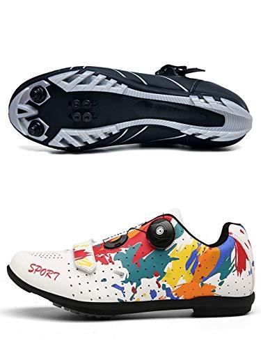 AGYE Calzado de Ciclismo Hombre, Zapatillas De Ciclismo para Hombre Zapatillas De Bicicleta De Carretera Zapatillas De Bicicleta De Montaña Ligeras Y Transpirables,White(Mountain)-37
