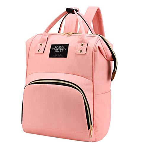 Baby Wickeltasche Wickelrucksack, Kinderwagen-Haken Tasche Rucksack mit 3 isolierten Taschen für Unterwegs, Große Kapazität - Pink