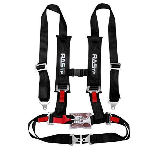 RASTP - Juego de arnés de seguridad de 4 puntos con almohadillas de hombro ultra cómodas y resistentes, color negro (paquete de 1)
