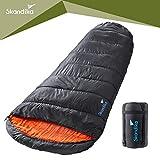 skandika Vegas Left Zip - Saco de Dormir Momia para Acampada, Color Negro, Talla 220 x 100 cm