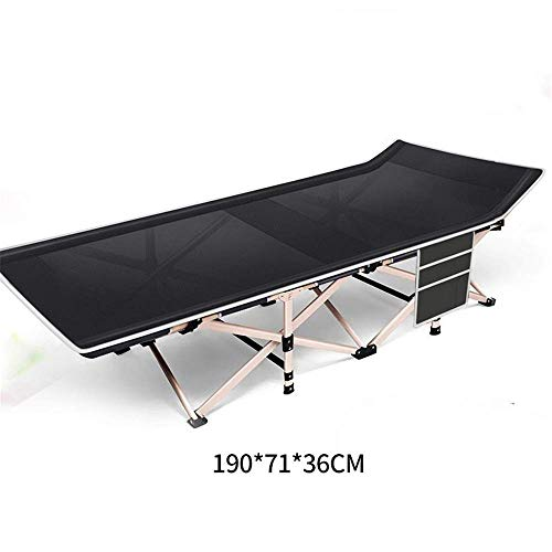 ZGQA-GQA Folding Bed Adults Kids Black Portable Folding Double Fabric Thicken Camping Bed Tubes Side Pocket Sun Lounger Visitor Bed (Color : Black, Size : 190 * 71 * 36cm)
