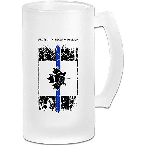 Thin Blue Line Canada Frosted Glass Stein Beer Mug - Taza de pub personalizada personalizada - Regalo para su bebedor de cerveza favorito
