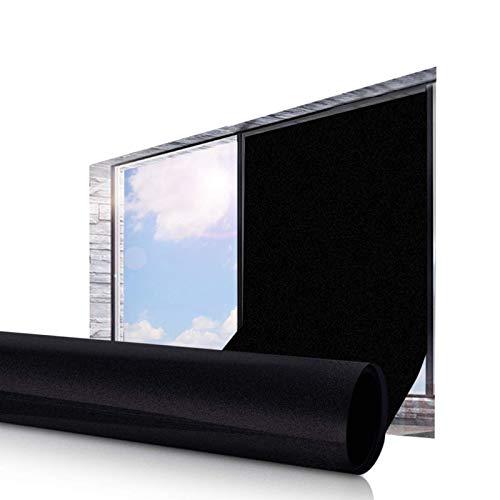 Essort Vinilo para Ventana Negro Mate Película Anti-UV Estática Opaco Decorativa para Dormitorio y Sala de Estar, Protección de la Privacidad 45X200CM