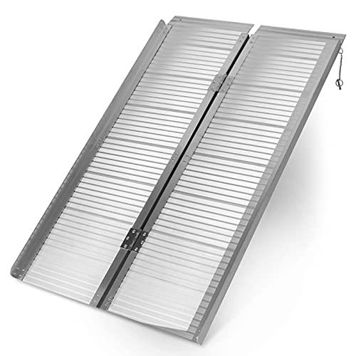 Jago® Rollstuhlrampe - Aluminium, Klappbar, versch. Größen (90cm, 122cm, 150cm), Mobile Faltbar, 270 kg - Verladerampe, Schwellenrampe, Kofferrampe, Auffahrrampe für Rollstühle Rollatoren (90 cm)