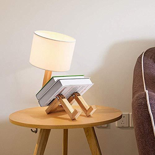 Dr.Sprayer Candelabro Lámpara de sobremesa LED candelabro de Estilo nórdico Fabricada en Madera Maciza, Pantalla de Tela Moderna y Sencilla E27 (Color:luz cálida) (Color : Warmes Licht)