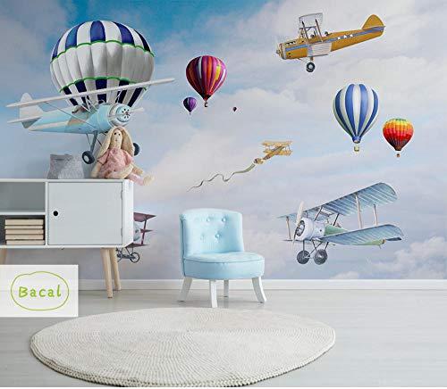 Bacal Personalizar Globo aerostático Foto Papel tapiz Mural Personalidad Avión de dibujos animados Niños Pared decorativa Papel tapiz 3D480Cm (W) X 188Cm (H)
