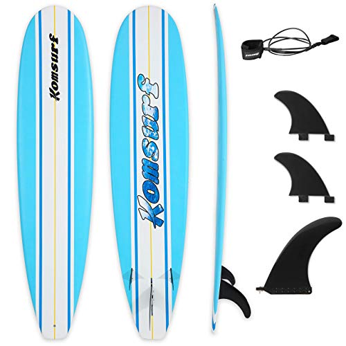 "Komsurf Fiberglass Surfboard, 6""4/6""10 Shortboard, 7""6/8""6 Longboard, Ocean Beach Boards Durable Waterproof and Flexible, for Beginner and Intermediate Surfers, Surf Board for Kids & Adults"