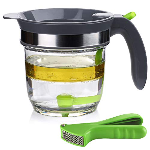 IVYHOME 4 Cups Fat Separator with Bottom Release, Gravy Grease Separator, Soup Oil Separator Measuring Cup, including a Garlic Press for FREE