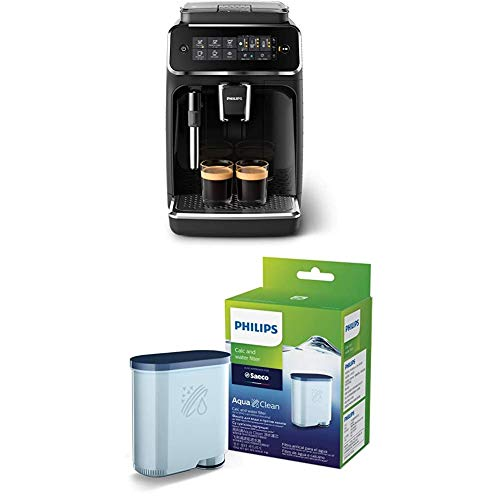 Philips 3200 Series Fully Automatic Espresso Machine w/ Milk Frother, Black, EP3221/44 with Philips Saeco AquaClean Filter Single Unit, CA6903/10