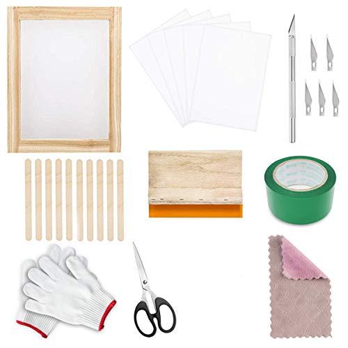 Siebdruck-Kit, 37-teiliges Siebdruck-Set für Anfänger und Siebdruck-Enthusiasten, mit Siebdruck-Rahmen, Seidensiebdruckklinge, exquisites Schablonenschnitzmesser
