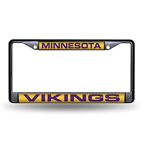 Rico Industries Unisex's NFL Minnesota Vikings Laser Cut Inlaid Standard Chrome License Plate Frame, Black, 6' x 12.25'