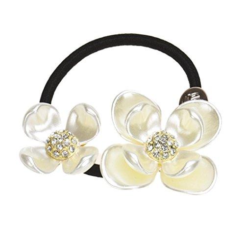 Covermason Perles de diamant fleur cheveux bande corde chouchou Ponytail titulaire