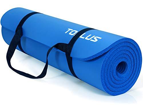 TOPLUS Verdickte Gymnastikmatte Phthalatfreie Yogamatte rutschfest und gelenkschonend Sportmatte für Yoga Pilates Sport mit praktischem Trageband Pilatesmatte 183 * 61 * 1 cm,Dunkelblau