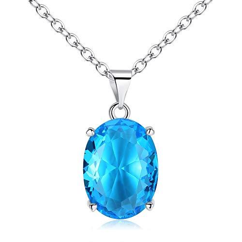 HJWL Collar Colgante Simple Grande Oval Exagerado Cielo Azul Topacio Piedra Preciosa Señoras Personalidad Cuatro Garra Elíptica Colgantes Mujer