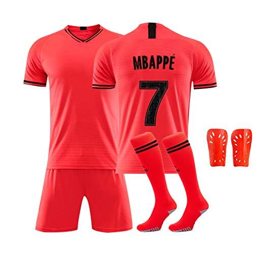 DDSC # 10 Mbappe Fußball Jersey Set Uniform, Kurzarm Socke Schienbeinschoner Training Wettbewerb Anzug Tank Tops Weste für Erwachsene Kinder 16-XXL-Top Hemd Pink-26