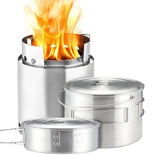 Solo Stove Campfire 2 Pot Set Combo - 4+ Person Wood Burning Camping Stove | Outdoor Kitchen Kit for Backpacking Camping Survival | NO Batteries or Liquid Fuel Gas Canister Required