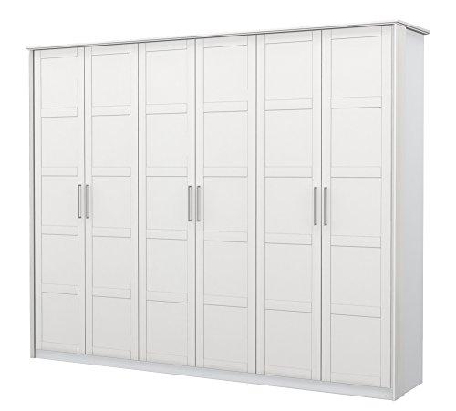 Preisvergleich Produktbild Drehtürenschrank / Kleiderschrank Samoa 04,  Farbe: Weiß - Abmessungen: 225 x 278 x 58 cm (H x B x T)