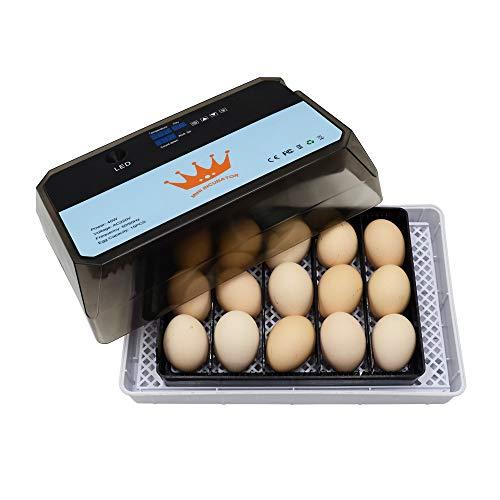 ConPush 15 Eier Eierbrutkasten Brutmaschine Vollautomatisch Hühner Eier Brutgerät Brutapparat Eier Inkubator mit Effizienter LED Beleuchtung Hatcher Maschine für Hühnergans Ente Taube Wachtel Vogel