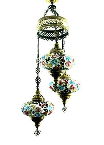 Oosterse Turkse handgemaakte mozaïek glas hanglamp binnenlamp hanglamp plafondlamp buitenlamp handgemaakt hanglamp 3 lichtjes glasmaat 3