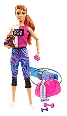 ?Barbie Fitness Doll, Red-Haired, with Puppy and 9 Accessories, Including Yoga Mat with Strap, Hula Hoop and Weights, Gift for Kids 3 to 7 Years Old
