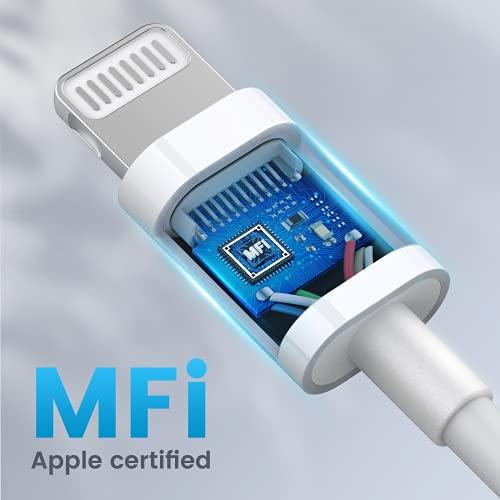 RAMPOW Cargador iPhone Cable iPhone - [Apple MFi Certificado] con C89 Cable Lighting para iPhone 13/13 Pro/13 mini/13 Pro Max/12/11/11 Pro/X/XS/XR/8/8 Plus/7/6s/6s Plus/6 Plus/SE/iPad/iPod-1M, Blanco