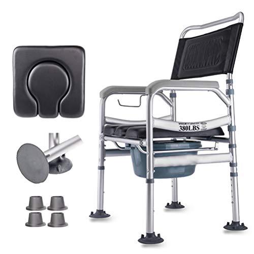 Yeah-hhi Toilettenstuhl Klappkommode Stuhl Aluminiumlegierung Höhenverstellbarer Bad Toilettenstuhl mit Bettpfanne für ältere Schwangere Patientin
