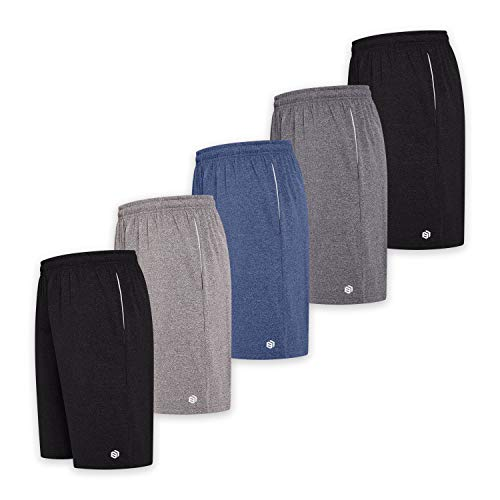 BROOKLYN + JAX Men's Active Athletic Performance Shorts - 5-Pack Basketball Shorts with Pockets