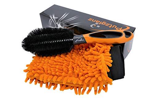 Putzglanz Premium Alloy Wheel Brush and Microfibre Car Wash Mitt Orange/Black