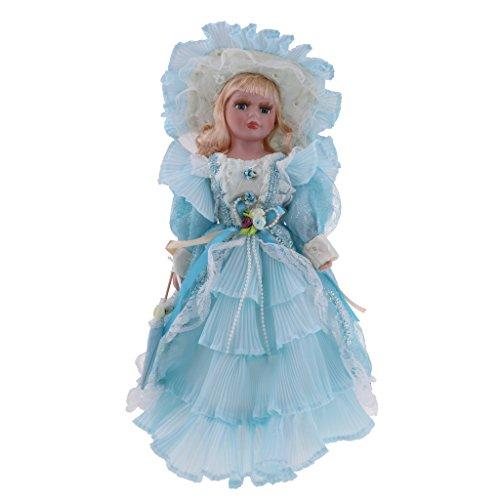 KESOTO Figura Muñeca Porcelana De Victorian 40cm con Vestido Azul Claro, Regalo para Niñas