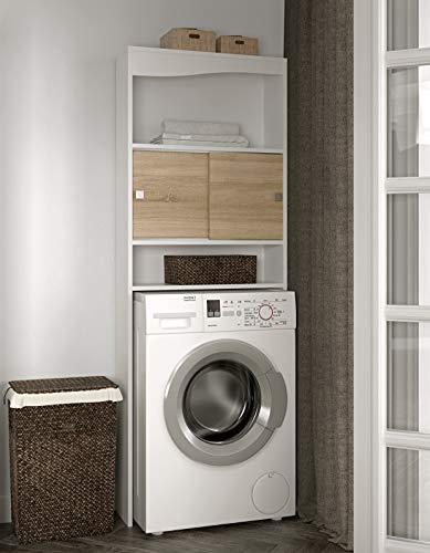Symbiosis Click, kast voor wasmachine 177 x 64.3 x 19.2 cm Wit (wit/eiken)