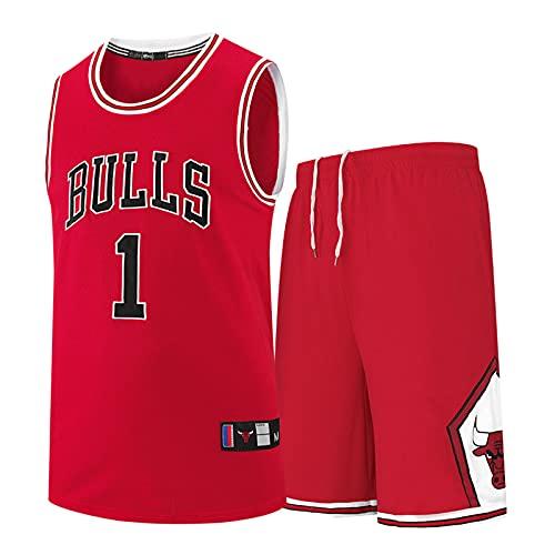 GFQTTY Conjunto De Camiseta De Baloncesto para Hombre, NBA Chicago Bulls # 1 Camisetas para Fanáticos Retro, Cómodas, Ligeras, Transpirables, Camisetas Swingman