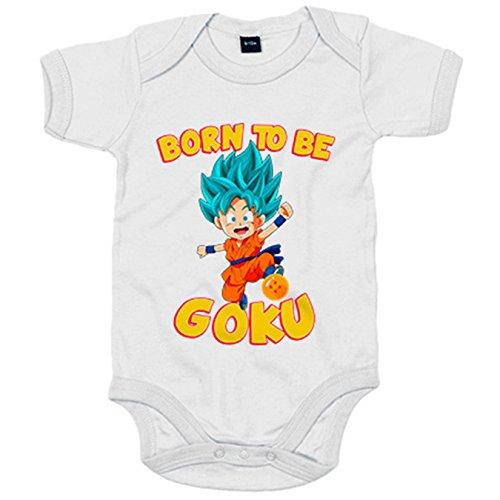 Body bebé parodia Born To Be Goku Super Sayan God Dios pelo azul - Blanco, 6-12 meses