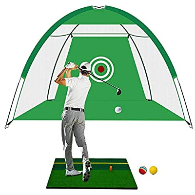 Golf Net Golf Hitting Nets with Target, Foldable Training Aids Practice Nets, Golf Approach Practice Net Golf Hitting Cage Grassland Practice Tent, Driving Swing Chipping for Indoor Outdoor (Green)