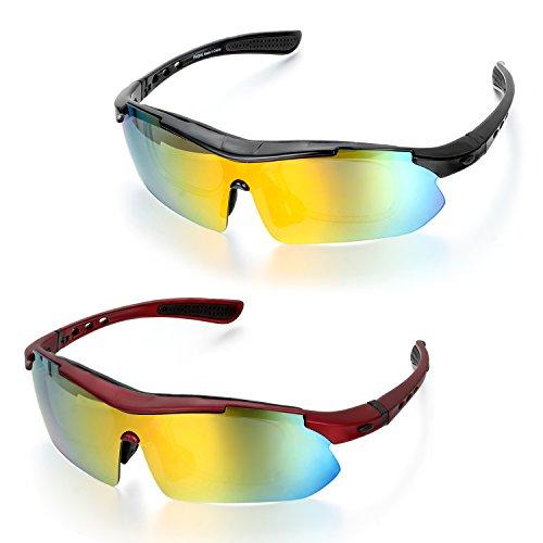 Aroncent fietsbril sportbril zonnebril veiligheidsbril fiets goggle racefiets bril rood zwart frame 5 x wisselglazen
