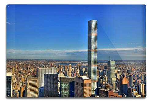 Lantern Press Manhattan, New York City - Colorful HDR Image of Midtown Featuring The 432 Park Avenue Building on a Clear Day A-9013207 (6x9 Aluminum Wall Sign, Wall Decor Ready to Hang)